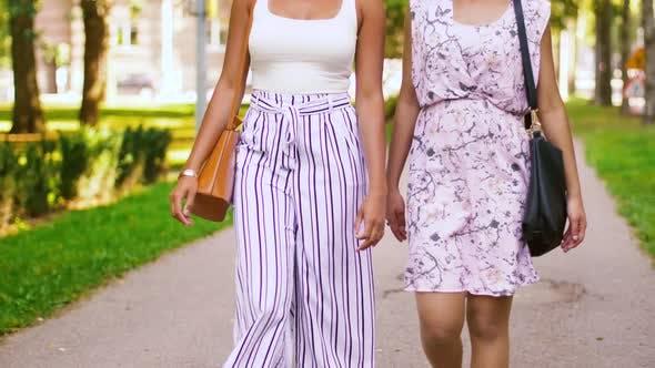 Thumbnail for Glückliche Frauen oder Freunde zu Fuß entlang Sommer Park 56