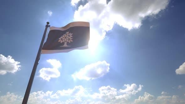 London City Flag (Ontario) on a Flagpole V4
