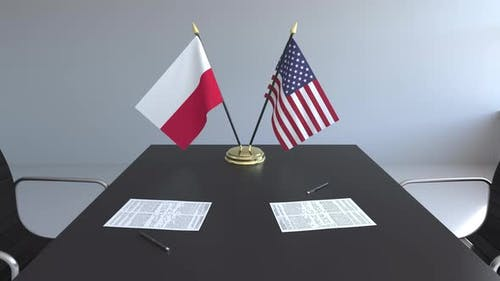 Flags of Poland and the United States of America