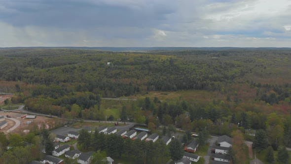 Aerial View Green Covered Forest in the Mountains of Poconos in Pennsylvania