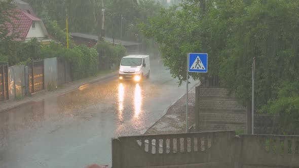 Car In A Thunderstorm