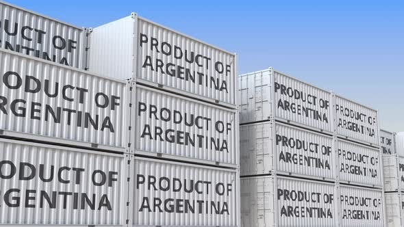 Thumbnail for Cargo Containers with PRODUCT OF ARGENTINA Text