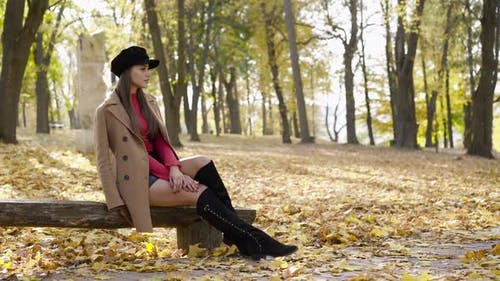 Glamorous Girl in Stylish Clothes Sits on Bench in a Pose in the Autumn Park