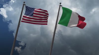 Waving Flags Of The United States And The Italy 2K