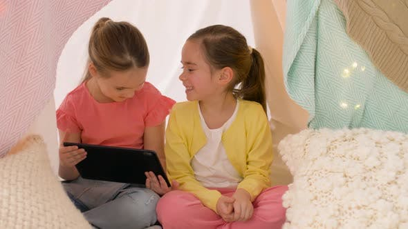Thumbnail for Little Girls with Tablet Pc in Kids Tent at Home