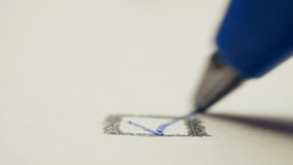 Thumbnail for Pen Draws a Check Mark on a White Background Paper, Macro Shot
