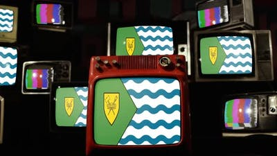 Flag Of Vancouver, Canada, on Retro TVs.