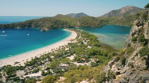 Aerial View of the Blue Sea and Beach of Oludeniz Fethiye Turkey