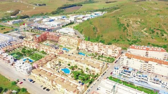 Thumbnail for Aerial Scenic View of Tarifa City Spain Mediterranean Sea and Ocean Atlantic