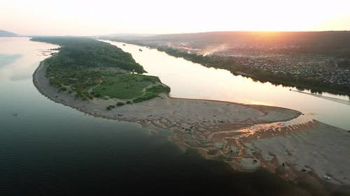 View From a Copter, Overflow of the Volga River, Sand Spit. Beautiful Natural Landscape, Circular