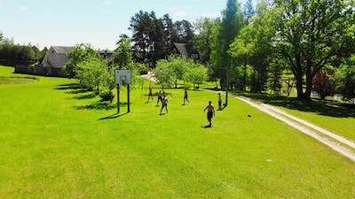 People Play Volleyball In Summer