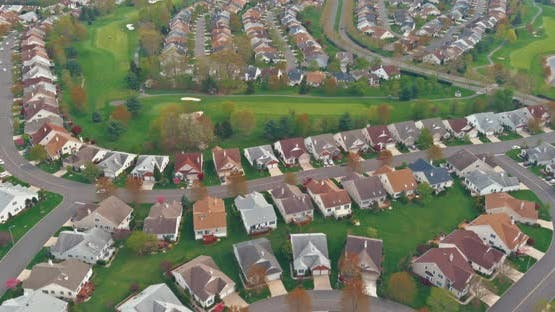 Scenic Seasonal Landscape From Above Aerial View of a Small Town in Countryside Pennsylvania US