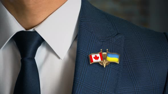 Thumbnail for Businessman Friend Flags Pin Canada Ukraine
