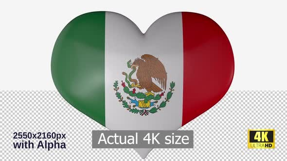 Mexico Flag Heart Spinning