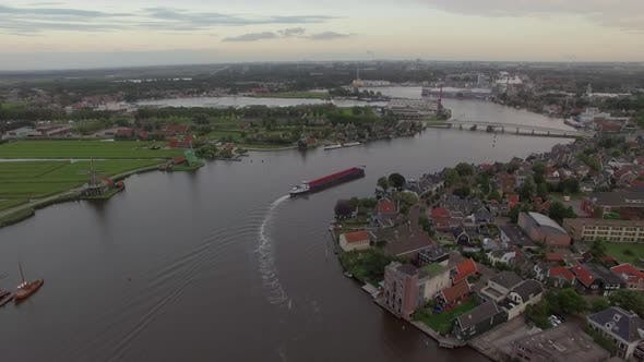 Thumbnail for Dutch Township on River Bank, Aerial View