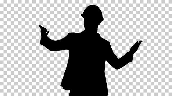 Silhouette Male architect in a helmet and head set, Alpha Channel