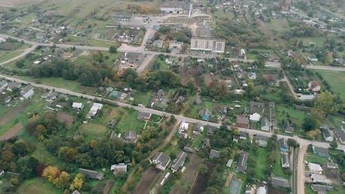Herbstlandschaft Landschaft Stadt Dorf Private Häuser Panorama Luftaufnahme