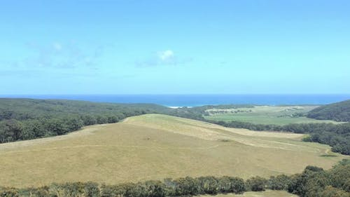 Australian Outback Farmland Aerial Flyover in the Summer