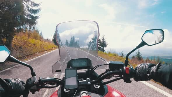 Thumbnail for Motorcyclist Rides on a Beautiful Landscape Mountain Road in Slovakia. Serpentine Road