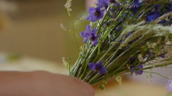 Thumbnail for Florist Tying Up Delicate Wildflower Bouquet