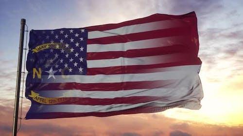 North Carolina and USA Flag on Flagpole