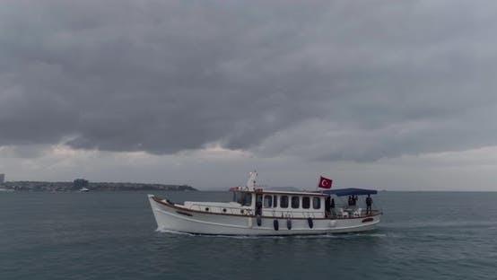 Thumbnail for Boat Sailing Bosphorus Aerial View 5