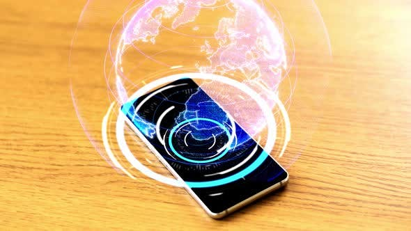 Thumbnail for Smartphone with Virtual Earth Projection on Table