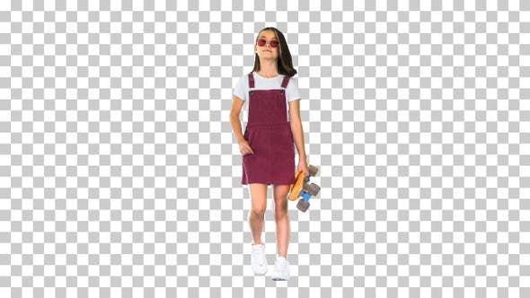 Thumbnail for Too-cool-for-school Asian skater girl walking, Alpha Channel