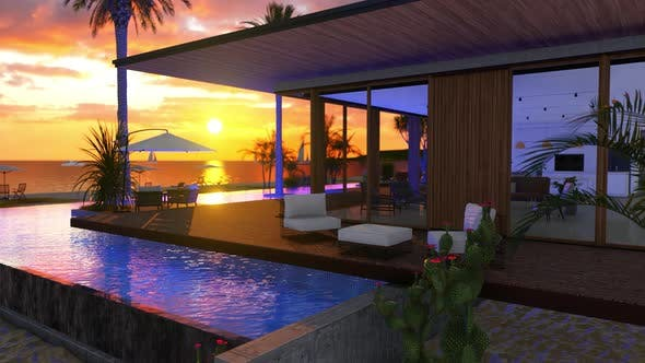 Beach House With Sea View Swimming Pool And Sunset Sky