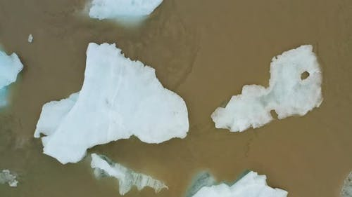 Aerial Drone Circling Footage of Vantajokull Glacier in Iceland and Fjallsarlon Lake