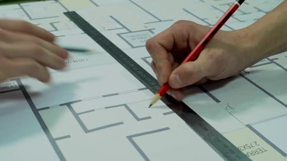 Thumbnail for Engineers Planning the Building Construction – Architectural Drawing