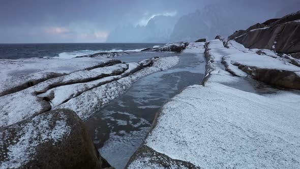 Thumbnail for Winter Surf and Hail on a Stone Beach
