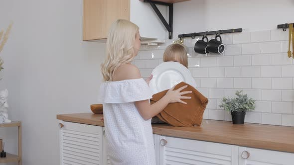 Mom and Son in a Bright Kitchen
