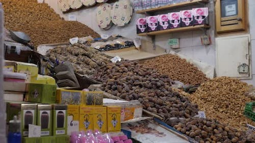 Selection of Different Arabian Spices Cosmetics on a Traditional Moroccan Market Souk in Marrakech