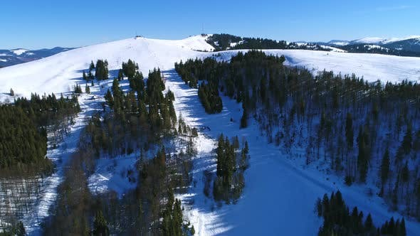 Thumbnail for Aerial - Ski Lift at Ski Resort in Sunny Carpatian Mountains