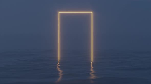 Glowing frame floating on the lake in the evening.