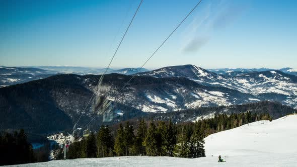 Cover Image for Ski Lift at Ski Resort in Sunny Carpatian Mountains, Time Lapse