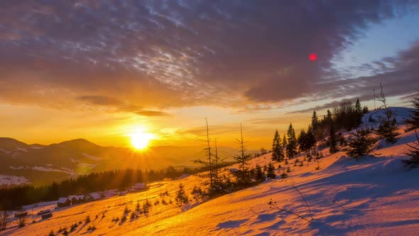 Thumbnail for Sunrise over the Winter Mountain