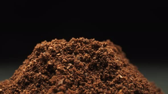 Thumbnail for Falling Coffee Bean. Ground Coffee. Close-up.