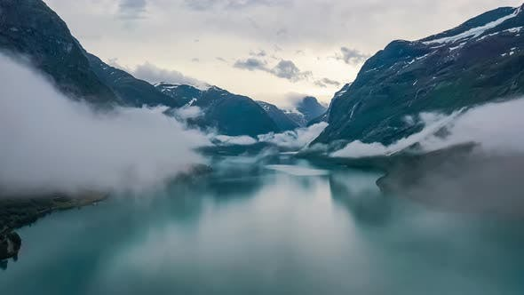 Thumbnail for Beautiful Nature Norway Natural Landscape Lovatnet Lake Flying over the Clouds