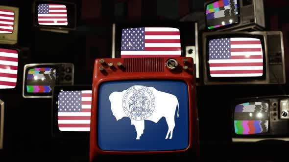 Thumbnail for Flag of Wyoming and US Flags on Retro TVs.