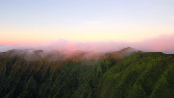 Epic Kauai cliffs on sunset clouds time-lapse