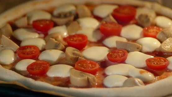 Timelapse Vegetarian Pizza with Mozzarella Baked