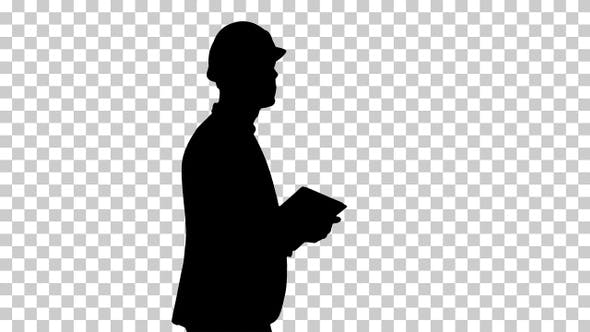 Thumbnail for Silhouette Architect walking with tablet and checking what