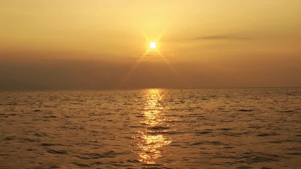 Thumbnail for Winter Golden Seascape Sunset Sun Rays View From Beach