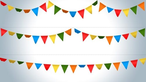 Bunting Festival Flags Pack - V1 Plain Color Version