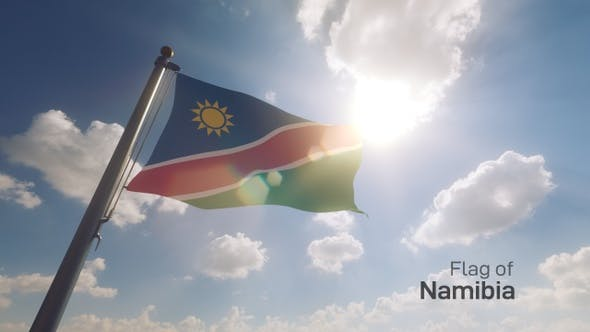 Namibia Flag on a Flagpole V2