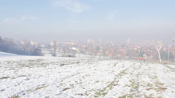 Thumbnail for Ski resort and town of Zajecar from park hill Kraljevica on early morning 4K 2160p UHD footage - Ski