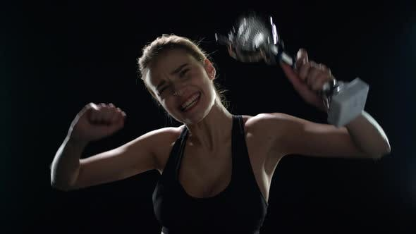 Thumbnail for Sport Woman Celebrating Sport Victory with Champion Trophy in Hands
