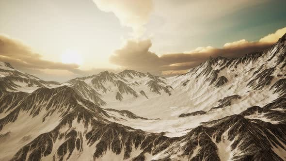 Thumbnail for Panorama of High Snow Mountains at Sunset